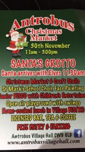 Antrobus Village Hall Xmas Market Poster for 2019
